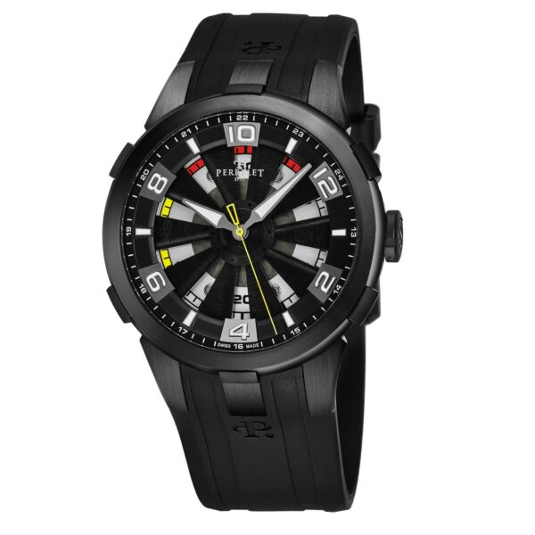 Perrelet Men's Turbine Sung Kang Black Dial Rubber Strap Automatic Watch A10981
