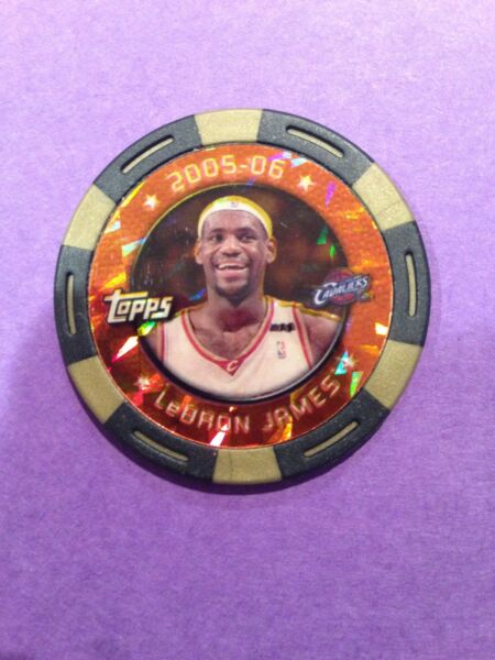LeBron James 2005 TOPPS Gold Poker Chip #'d 11 ERROR Lakers One of One !!!