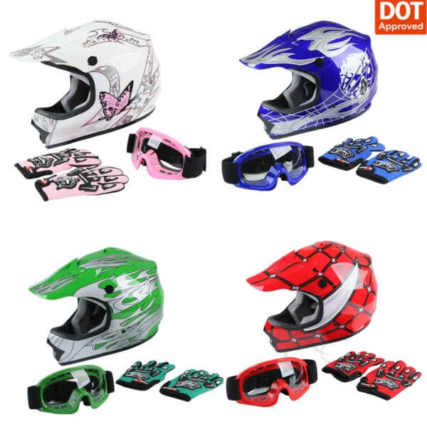DOT Youth Helmet Child Kids Motorcycle Full Face Offroad Dirt Bike ATV S M L XL $45.00