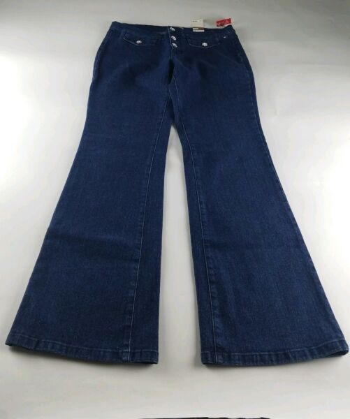Tommy women denim flare stretch jeans wide leg size 13 . $29.75