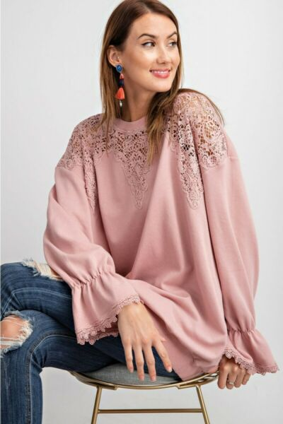 EASEL Rose Pink Crochet Detail Terry Knit Tunic Top