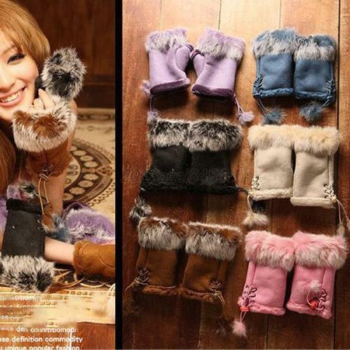 500Pairs Winter Women Faux Rabbit Fur Hand Wrist Fingerless Gloves Mittens Black