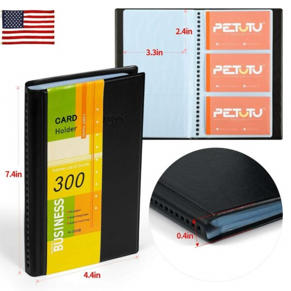US Business Name Card Holder Business Card Book Black PU Leather 300 Cards