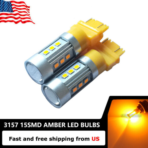 2PCS Amber 3157 3057 3457 4157 Super Bright 15SMD 5730 LED Bulbs -Turn Signals