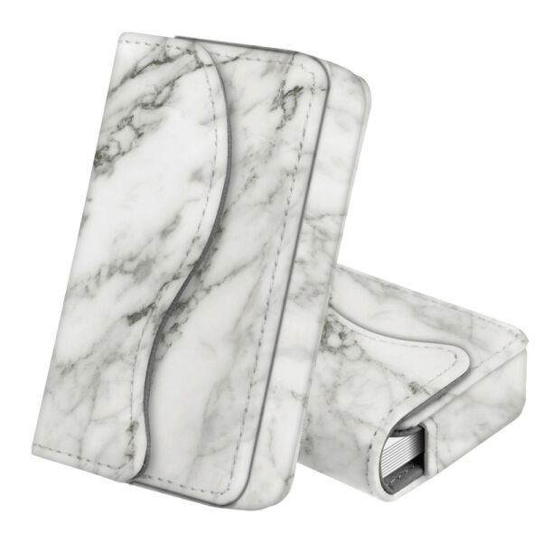 Business Card Holder Name Card Wallet Case Magnetic Closure - Marble White