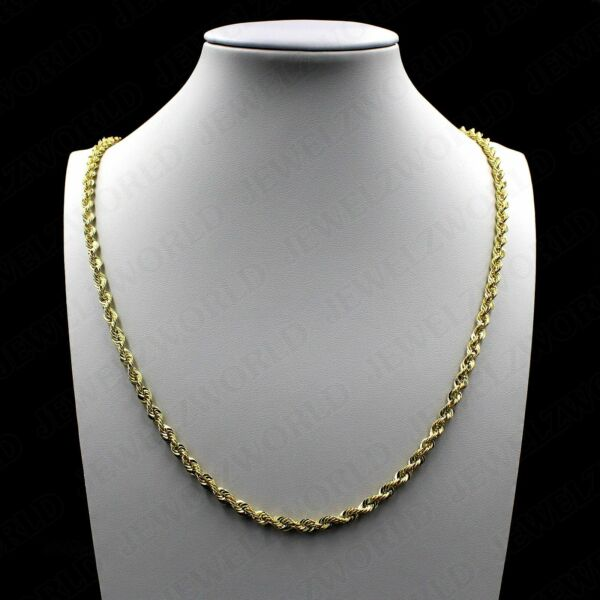 Real 10K Solid Yellow Gold 2.5mm Diamond Cut Rope Chain Pendant Necklace 16quot; 30quot; $99.99