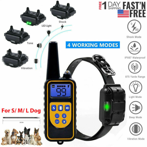 Waterproof Dog Shock Collar With Remote Electric for Large 875 Yard Pet Training $25.69