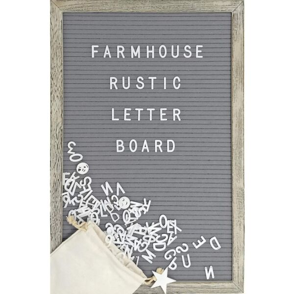 Farmhouse Wall Decor Felt Letter Board - 12 x 17 Inch Rustic Wood Frame Gray