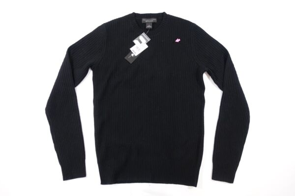 THE MENS STORE BLACK SMALL 100% WOOL CREWNECK SWEATER MENS DEFECT
