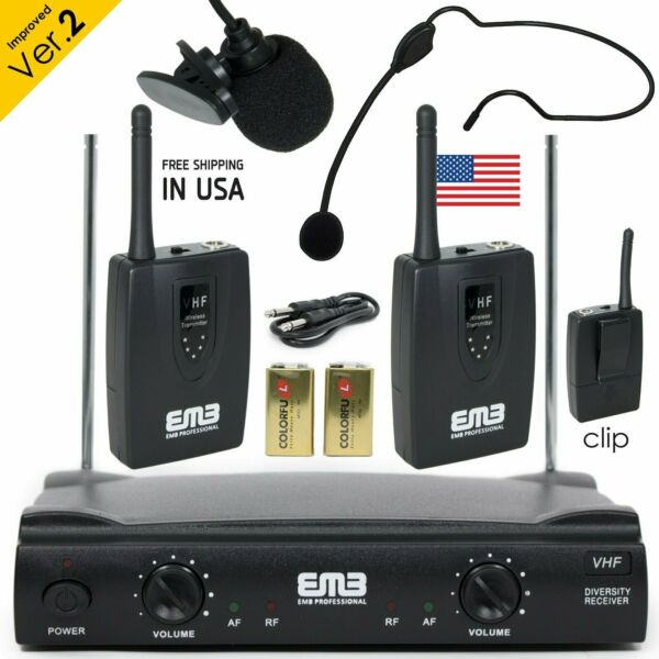 Professional Wireless Microphone System Headset  Lavalier 2 x Mic w Receiver
