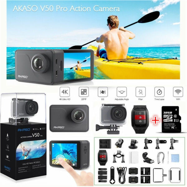 2019 NEW Akaso V50 Pro Ultra HD 4K 20MP WiFi Action Camera  Touch Screen +32G SD