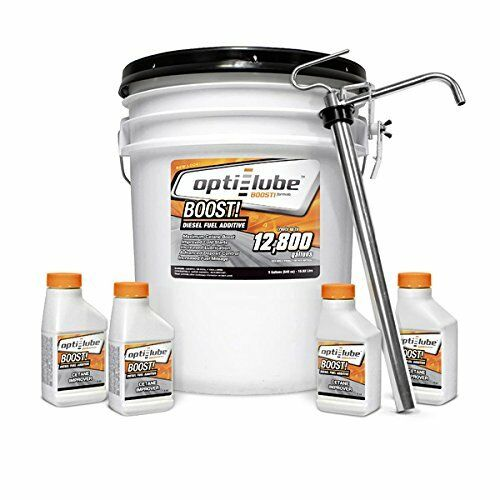 Opti-Lube Boost!:5 Gallon Pail with 1 Heavy Duty Metal Pump and 4 4oz bottles