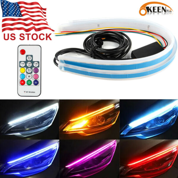 2pcs RGB 60CM DRL LED Light Car Headlight Strip Flexible Turn Signal Lamps