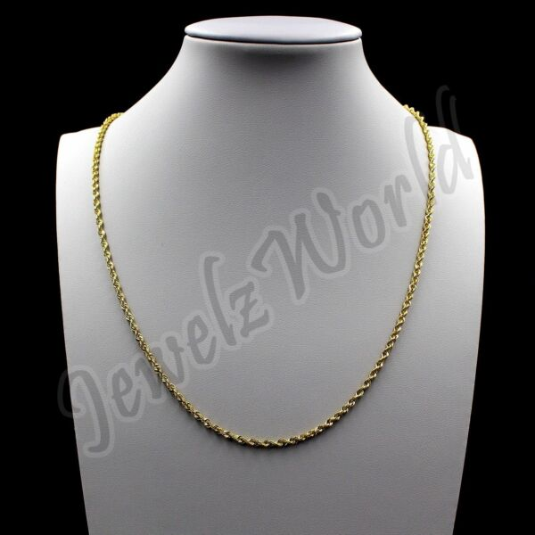 Real 10K Solid Yellow Gold 2mm Rope Chain Diamond Cut Pendant Necklace 14quot; 30quot;