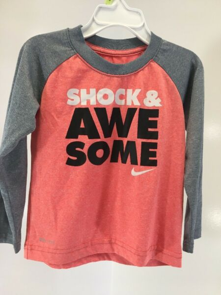 NIKE UNISEX TODDLER SHOCK & AWE SOME DRI-FIT LS SHIRT HEATHER CORAL/GRAY 3T NEW