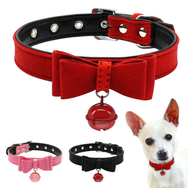 Suede Leather Bow Tie Pet Collar with Bell for Cat Puppy Small Dog Collars XXS M $4.99