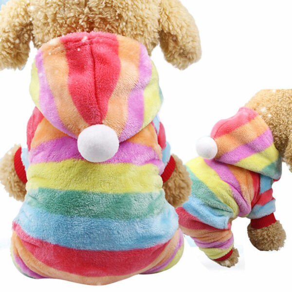 M L Pet Dog Rainbow Sweater Hoodie Coat Warm Costume Clothes Apparel US $4.49