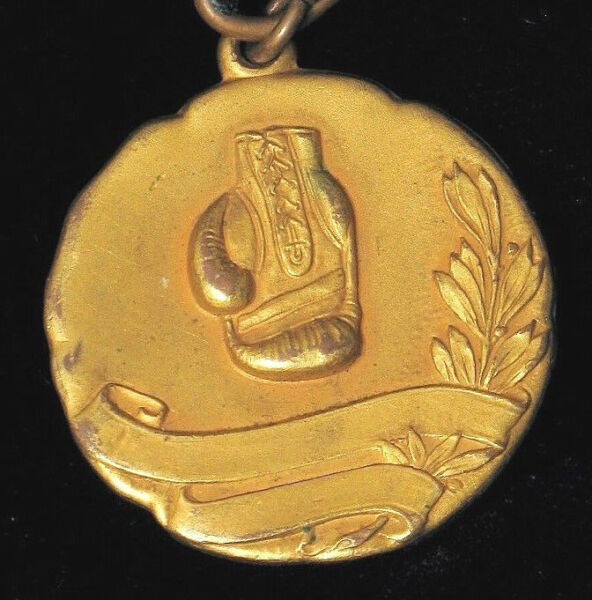 ANTIQUE BRASS BOXING GLOVE WATCH FOB VERY ORNATE WITH FINE GILT LEATHER BAND
