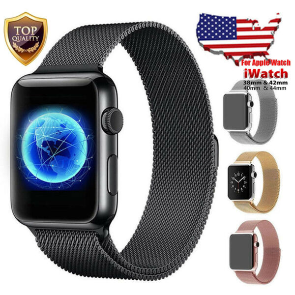 For Apple Watch Band 42mm 38mm 44mm 40mm Series 5432 Milanese Stainless Steel