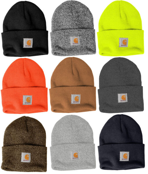 Carhartt Acrylic Watch Beanie Knit Men#x27;s Stocking Cap Warm Winter Hat Authentic