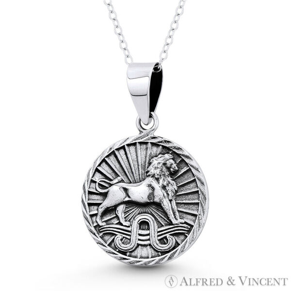 Leo the Lion Zodiac Sign Solid .925 Sterling Silver Animal Pendant Luck Necklace