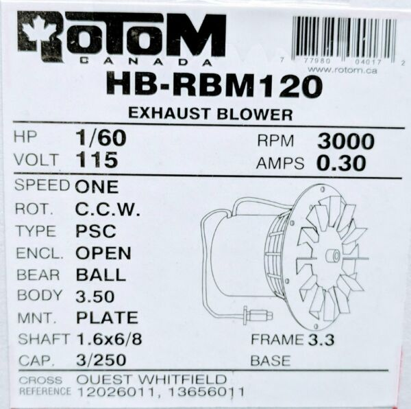 Rotom HB RBM120 Pellet Stove Blower Motor Replacement 1 60 hp3000 rpm0 3 new $90.88
