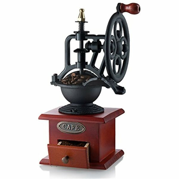 Gourmia GCG9315 Manual Coffee Grinder Antique Cast Iron Hand Crank Mill With