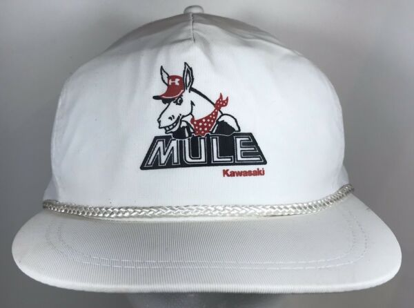 Vintage Mule Kawasaki White Trucker SnapBack Hat Riding Trail Outdoor Ride