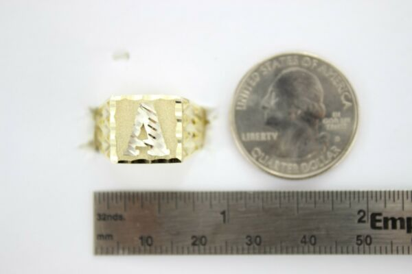 Authentic 14k Solid Yellow Gold Plate Initial Alphabet Ring