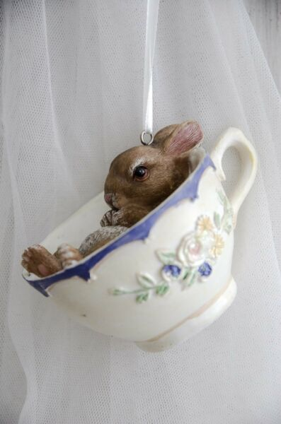 Clayre & Eef Osterhase Hase in Tasse Osterdekoration Ostern Hase Shabby Vintage