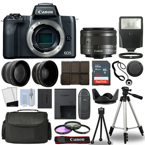 Canon EOS M50 Camera Body Black + 3 Lens Kit 15-45mm IS STM+ 32GB + Flash