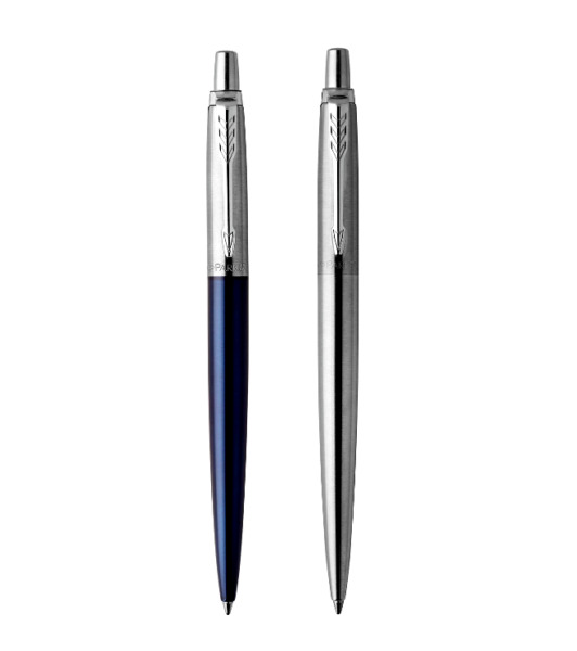 2 PARKER JOTTER PENS SEALED Ballpoint amp; Gel Pen Royal Blue Chrome Steel GIFTSET