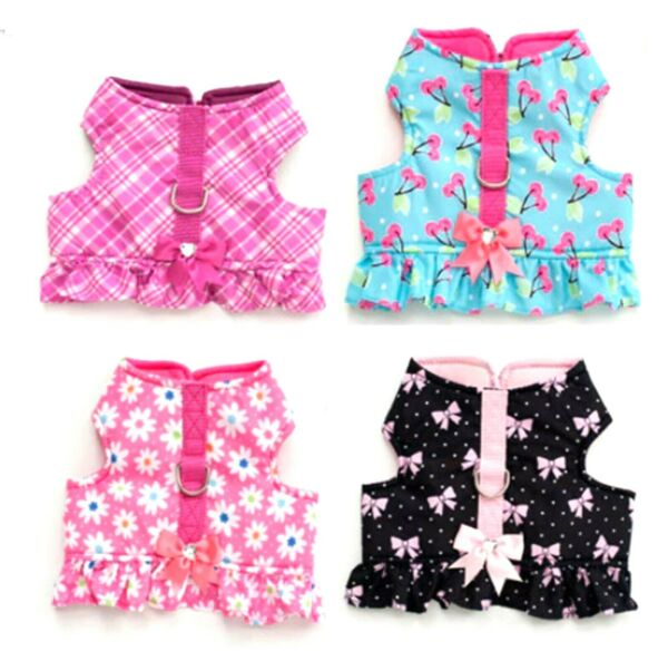 Small Dogs Harness Vest Flower Cherry Rose Pink Bow Cotton Floral Cute Vest