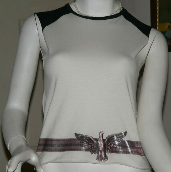 CHLOE PURE COTTON BLACK & WHITE SLEEVELESS TOP WITH EAGLE DESIGNs