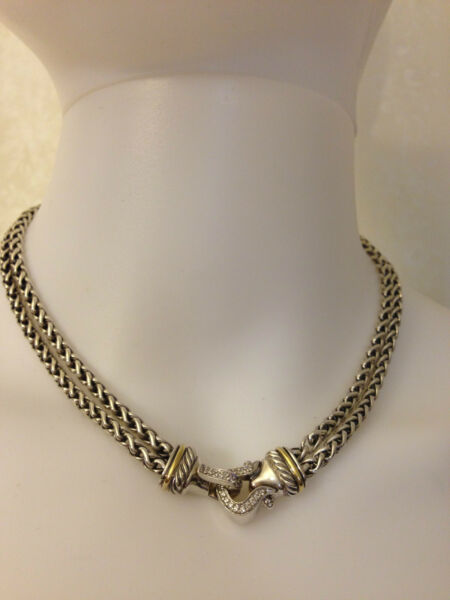 David Yurman Silver Diamond Buckle Double Wheat Necklace 16