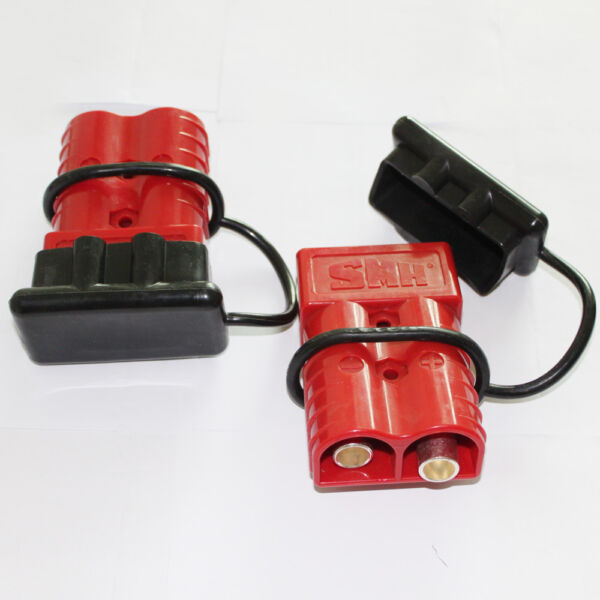 2 X Trailer Battery Red Quick Connect Disconnect Plug Boat RV 350A W 2 Caps