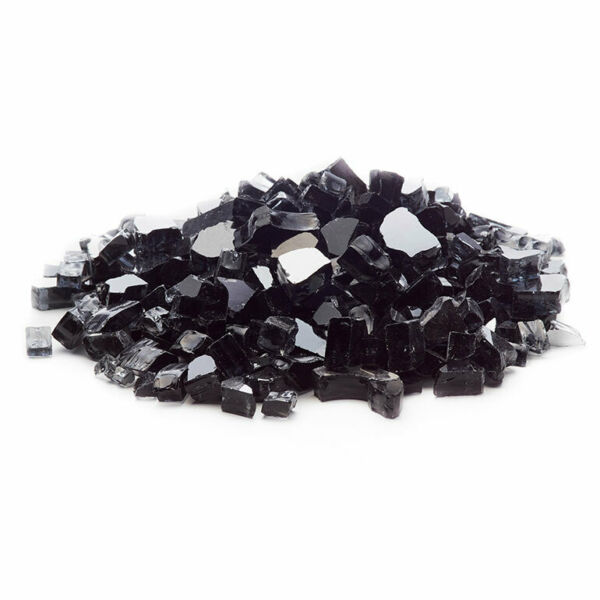 Premium JET BLACK 1 2quot; Reflective Tempered Fire Glass for Fireplace and Fire Pit