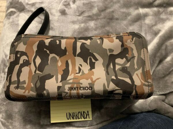 Mens Jimmy Choo CLYDE Forest Green Mix Camouflage Print Nylon Wash Bag Dopp Kit