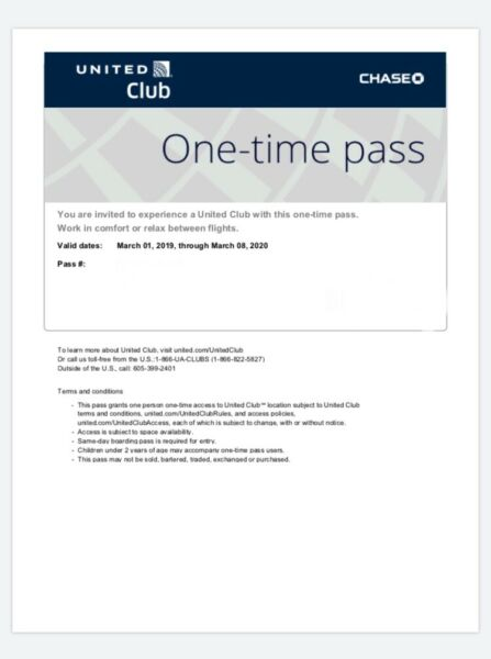 UNITED CLUB PASS- (Two) 2 Passes Electronic Delivery