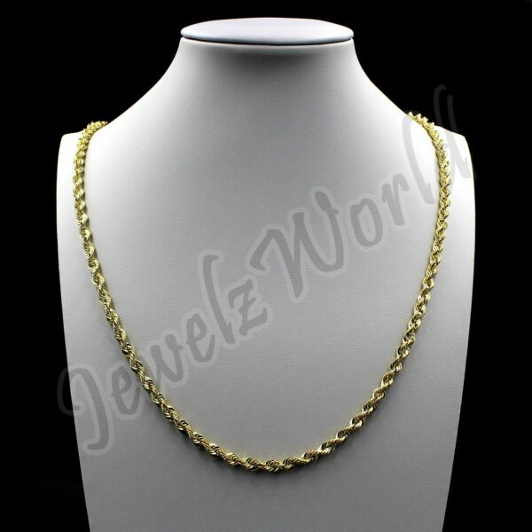 10K Solid Yellow Gold Necklace Gold Rope Chain 2.5mm 16