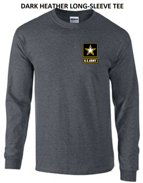 US Army Star Military Infantry Forces Left Chest Logo Long Sleeve Tee New