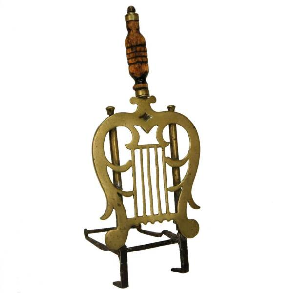 Antique English Regency Brass and Iron Lyre-Form Fireplace Trivet c. 1820