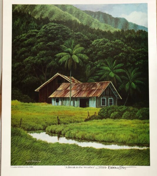 Curtis Wilson Cost A Break in The Weather Signed Print Hawaiian Art 1982