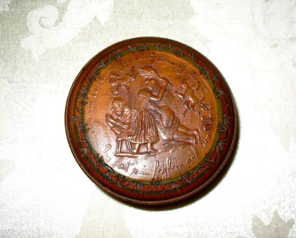Early to Mid 19th Century Hand Carved Treen Snuff Box