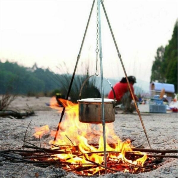 Picnic Tripod Cooking Camping Outdoor Hanging Pot Stand Portable Campfire Grill