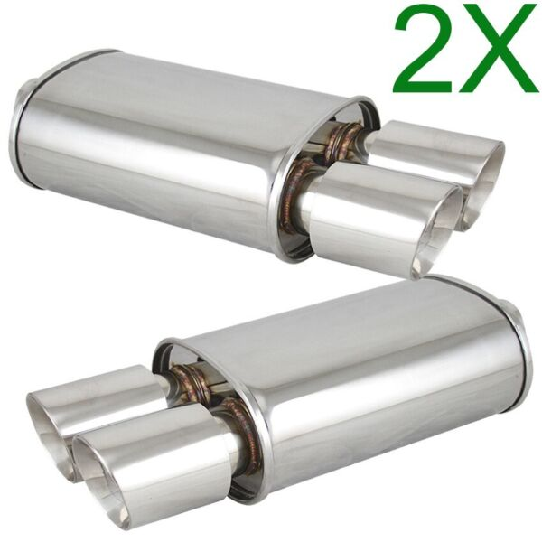 2X Polished Spun-locked Exhaust Oval Muffler Double Wall Dual Tip for Lexus