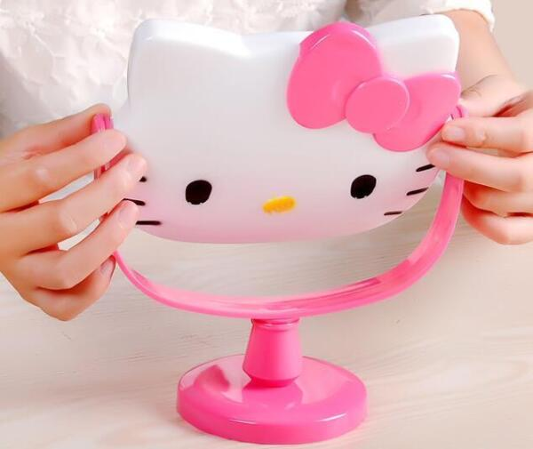 Cute For Hello Kitty Desk Table Pink Bow Women Make up Mirror Cosmetic Mirror $13.98