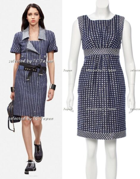 CHANEL 17S 17PS Midnight Blue Sleeveless Tweed Dress F36 NWT New with Tag