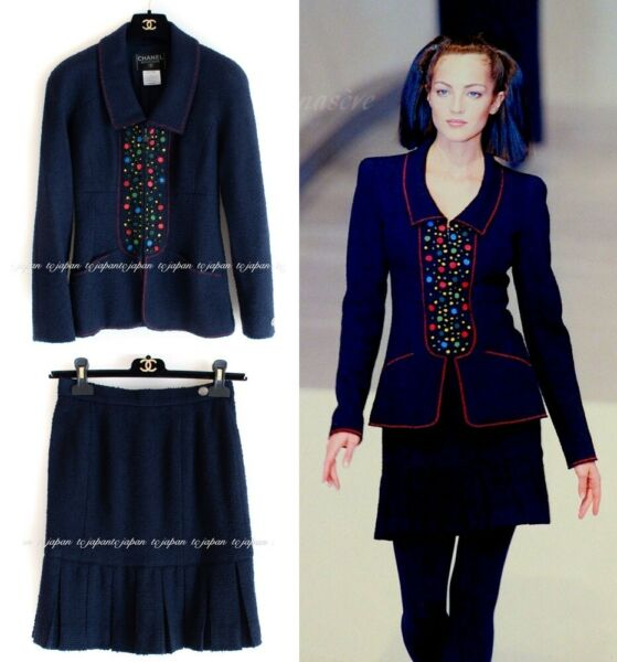CHANEL Navy Wool Jacket Skirt Suit Vintage Rare Excellent F36