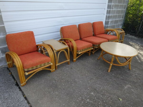 Vintage Mid-Century Modern Paul Frankl Era 1950s Tiki Rattan Living Room 7pc Set